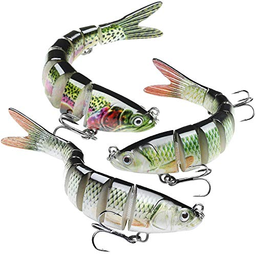 GOTOUR Bass Fishing Lures, Slow Sinking Swimming Lure, Lifelike Multi Jointed Swimbait, Hard Bait...