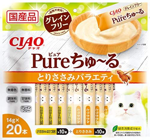 チャオ (CIAO) 猫用おやつ Pureちゅ~る とりささみバラエティ 14グラム (x 20)