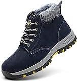 SROTER Mujer Hombre Invierno Botas de Seguridad Trabajo Zapatillas con Puntera de Acero Impermeables Botas de Nieve Zapatos de Trabajo Entrenador Unisex Zapatillas de Senderismo Azul 40 EU
