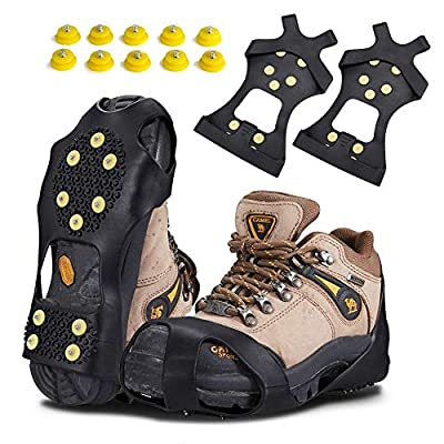 KUYOU Traction Ice Cleats, Snow Grips Ice Traction Over Shoe or Boot Rubber Anti Slip Tread Footwear Spikes with 10 Steel Studs Crampons for Walking, Fishing, Jogging Hiking, Extra 10 Studs (Medium)