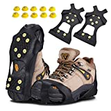 KUYOU Traction Ice Cleats, Snow Grips Ice Traction Over Shoe or Boot Rubber Anti Slip Tread Footwear Spikes with 10 Steel Studs Crampons for Walking, Fishing, Jogging Hiking, Extra 10 Studs (Small)