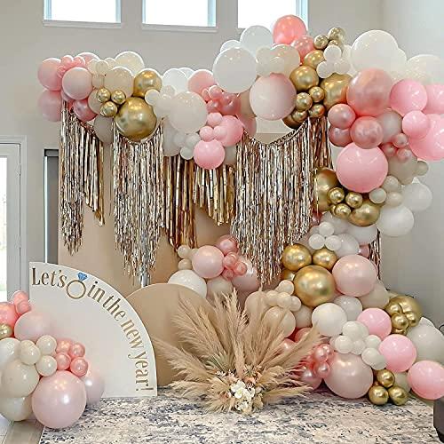 Globos De Cumpleaños Niña, SPECOOL Kit de Guirnalda de Globos de Oro Blanco y Rosa, Arco para Globos de Látex con Cinta de Globos para Decoracion Cumpleaños Niñas