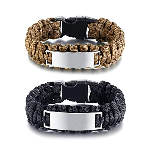 LF 2Pcs His Her Stainless Steel Personalized ICE Outdoor Rope Paracord Survival Bracelet Sos Emergency Rescue Rope Couple Cuff Bracelets for Hiking Camping Hunting Activities,Engraving Customized