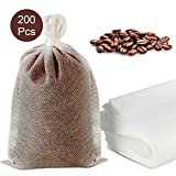 200 Pieces No Mess Cold Brew Coffee Filters,No Mess Coffee Filter Mesh Tea Filter Bags Disposable Mesh Brewing Bags with Drawstring for Concentrate, Iced Coffee Maker, Cold Brew Coffee, Loose Leaf Tea