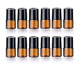 12 botellas de cristal de aceite esencial mini rellenables para aromaterapia, perfumes líquidos, ámbar, botellas de metal, 1 ml