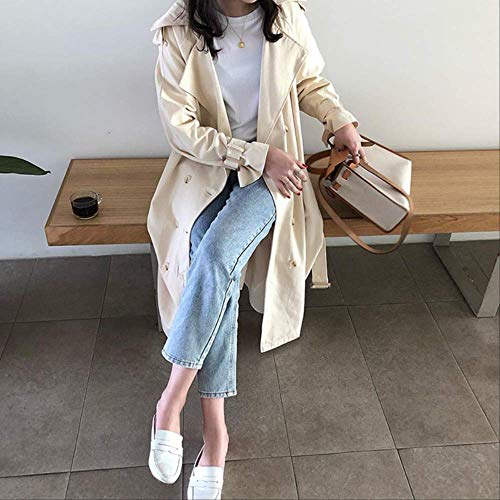 MNBV Damen Trenchcoat Herbst Trenchcoat Für Frauen Doble Breasted Long Coat Frauen Windbreaker Revers Coat L Cremeweiß