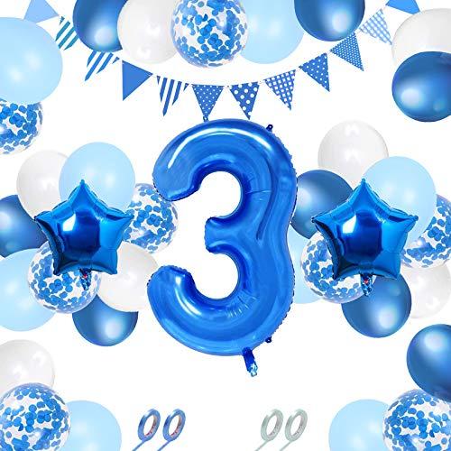 32 Stücke Geburtstagsdeko 3 jahre junge, 3. geburtstag junge, Kindergeburtstag Deko 3 Jahr Ballon, Riesen Folienballon Zahl 3,3 jahre Geburtstag Deko Jungen Kinder Wimpelkette Luftballons Konfetti Set