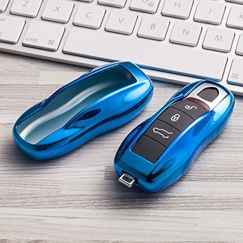 Kelay - Funda para llave de coche con 3 botones de TPU suave compatible con Porsche Cayenne Carrera