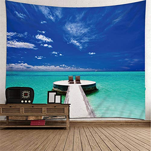 mohanshop 3D Tapestry Observation Deck M1 Mandala Hippie Wall Hanging Indian Bohemian Dorm Decor Single Multi-Colored Bedsheet Print Picnic Table Cloth 240(H) X260(W) Cm