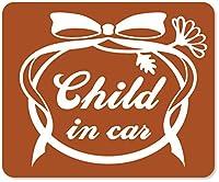 imoninn CHILD in car ステッカー 【マグネットタイプ】 No.29 お花リボン (茶色)