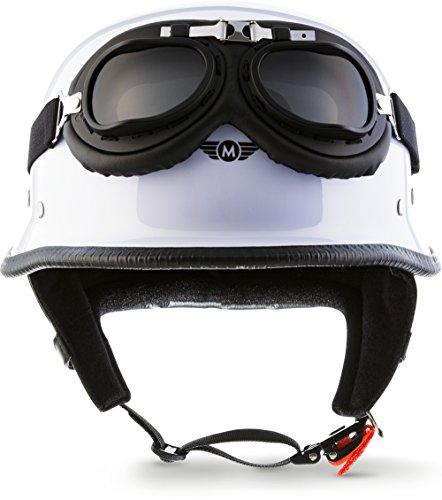 "Moto Helmets® D33-Set ""White"" · Brain-Cap · Halbschale Jet-Helm Motorrad-Helm Roller-Helm Scooter-Helm Bobber Mofa-Helm Chopper Retro Cruiser Vintage Pilot Biker Helmet Brille Visier · XXL (63-64cm)"