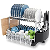 MOUKABAL Dish Drying Rack ,Aluminum Dish Drainer, 2 Tier Dish Rack with Drainboard and Removable Utensil Holder Cutting Board (Silver)