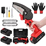 OICGOO Mini Chainsaw, 4-Inch Handheld Mini Chainsaw Cordless Power Electric-Chain-Saws with 2 Battery and Chain, Pruning Shears Chainsaw for Tree Branch Wood Cutting