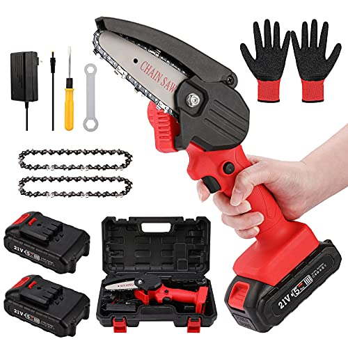 OICGOO Mini Chainsaw Cordless, Handheld Mini Chainsaw Battery Powered with 2 Batteries 2 Chains, Small Portable Electric Chainsaw for Tree Pruning Branch Wood Cutting (Red)