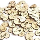Pieza de corazón, 100 piezas de madera para decoración de mesa de boda Bokeh