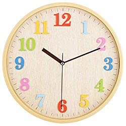 """Topkey 12"""" Wooden Look Wall Clock Silent Non-Ticking 3D Numners Colorful Decorative Round Clock for Living Room, Bedroom and Office Battery Not Included - Light Brown"""