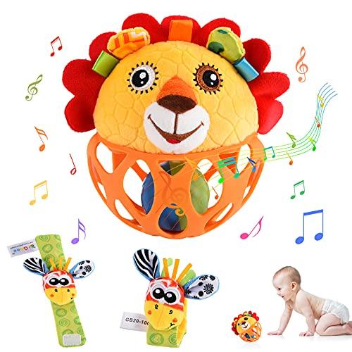 Herefun Baby Rasseln Spielzeug, 1 Pcs Löwe Rassel Motorikspielzeug und 2 Pcs Spielzeug Handgelenk, Baby Greifball, Greifling, Entwicklungs Spielzeug, Spiel Greifling, Baby Spielzeug ab 0 Monate