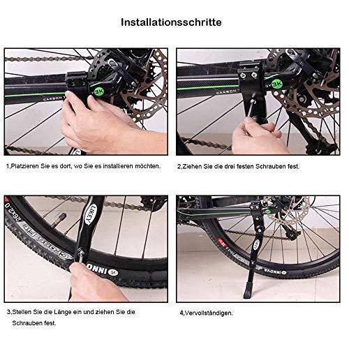 Likey Fahrradständer für 24-28 Zoll,Höhenverstellbarer Fahrradständer,Rutschfester Gummiständer, für Mountainbike, Rennrad, Fahrräder und Klapprad (Schwarz) - 5