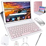 Tablet 10 Inch, Android 10.0 Pie Tablets with Wireless Keyboard Case and Mouse, 4GB RAM 64GB ROM, Quad Core, Google GMS Certified, IPS HD Display, 8MP Dual Camera, Dual 4G SIM, 8000mAh, WiFi - Gold
