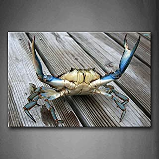 YIDA YUN Blue Crab Stretch Out Claw On Plank Wall Art Painting Picture Print On Canvas Animal Pictures For Room