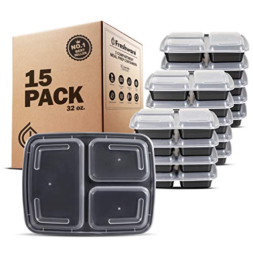Freshware Meal Prep Containers [15 Pack] 3 Compartment with Lids, Food Containers, Lunch Box, BPA Free, Stackable, Bento Box, Microwave/Dishwasher/Freezer Safe (32 oz)