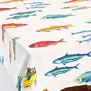 Amelie Michel Wipe-Clean French Tablecloth in Calanques Fish   Authentic French Acrylic-Coated 100% Cotton Fabric   Easy Care, Spill Proof [60