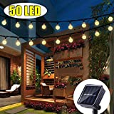 FlyCloud Solar String Lights Outdoor, 50 LED Waterproof LED Outdoor Solar Lights Crystal Ball Decorative Lights 24Ft Indoor Outdoor Fairy Lights for Garden, Patio, Yard, Christmas (Warm White)…