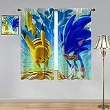 ARYAGO Kinderzimmer-Fenstervorhang Sonic The Hedgehog Gardinen, Sonic & Pikachu Gardinen, Stangentasche für Jungenzimmer, 140 x 160 cm