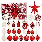 ROSELEAF - Juego de 130 bolas de árbol de Navidad rojas y blancas con decoración de árbol de Navidad, decoración de árbol de Navidad, bodas y fiestas