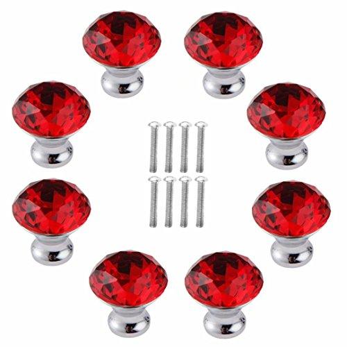 FBSHOP(TM) 8 Stück 30 mm rot Schrankknöpfe Schubladenknöpfe Möbelknöpfe Kristall Möbelgriffe Möbelknauf Schrankgriffe für Küche Büro Schlafzimmer-Möbel,