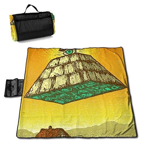 Singledog Picknickdecke Dreieck Pyramide Augen Village Picknickdecke für Outdoor Handy Mat Tote 145X150CM