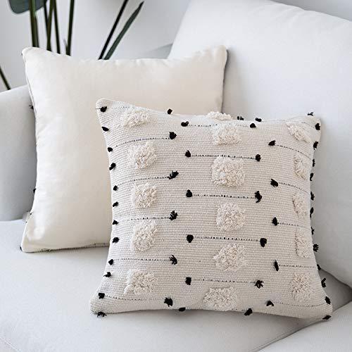 MOCOFO Kissenhülle cremefarben, Weiß, Grau, gewebt, getuftet, Quaste, Fransen-Kissen, Sofakissen, Überwurf, Bohemian-Stickerei, 40 cm, nur die Kissenhülle, Baumwolle, Mehrere Kreise 45 x 45cm