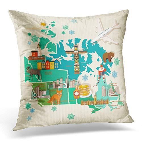 Funda de almohada decorativa, diseño de mapa canadiense tradiciones sobre la cultura del país, funda de almohada cuadrada para decoración del hogar, 45,7 x 45,7 cm