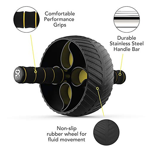 Sports Research Ab Wheel Roller with Knee Pad | Sturdy 3' Wheel for Core Workouts in The Gym or at...