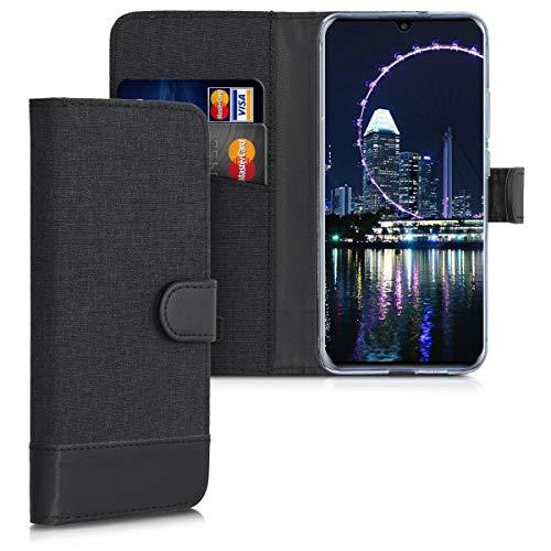 kwmobile Wallet Hülle kompatibel mit ZTE Axon 10 Pro - Hülle mit Ständer - Handyhülle Kartenfächer Anthrazit Schwarz