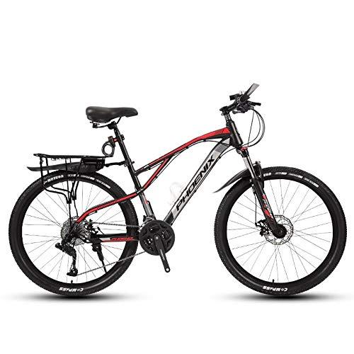 DGAGD Rueda de radios de Bicicleta Ligera de Velocidad Variable de Bicicleta de montaña de 24 Pulgadas-Rojo Negro_24 velocidades