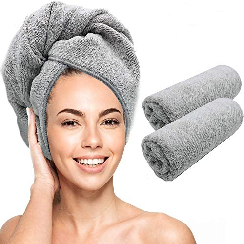 Scala Microfiber Hair Towel Wrap - Magic Instant Quick Dry Turban Twist for Women. Anti Frizz Curly, Straight, Color Treated, Hair. (2 Pack)