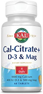 KAL Cal-Citrate Plus 1000mg   Blend of Calcium Citrate, Magnesium and Vitamin D-3   for Healthy Bones & Teeth   No Gluten ...
