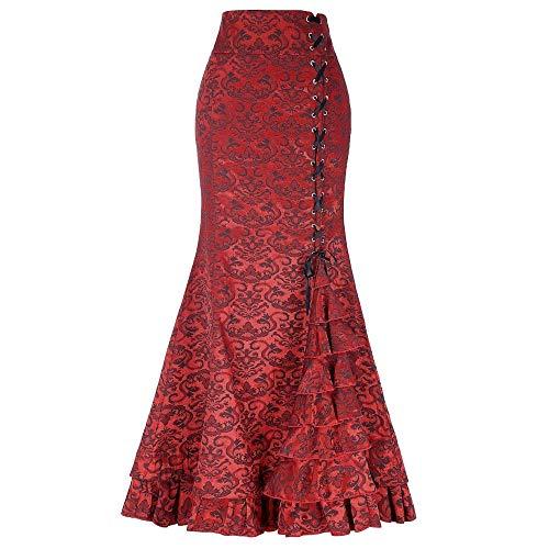 Jeans Skirt for Women Knee Length,Women Punk Style Retro Mermaid Skirt Vintage Long Bodycon Ruffle Fishtail Skirt,Women's Shorts Red