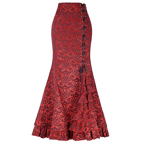 TOTOD Skirts Clearance, Fashion Women High Waist Pleated A Line Long Skirt - Front Slit Belted Maxi Fish Tail Skirt(Red -Fishtail Skirt,M)
