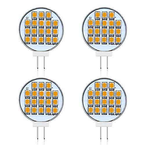 Bonlux 3W Side-Pin G4 LED Light Bulb - 12V 24V AC/DC G4 Bi-Pin Base Ceiling Recessed Puck Light, 30W Halogen Replacement Bulb for RV Trailer Motorhome 5th Wheel, Warm White 2800K (4-Pack)