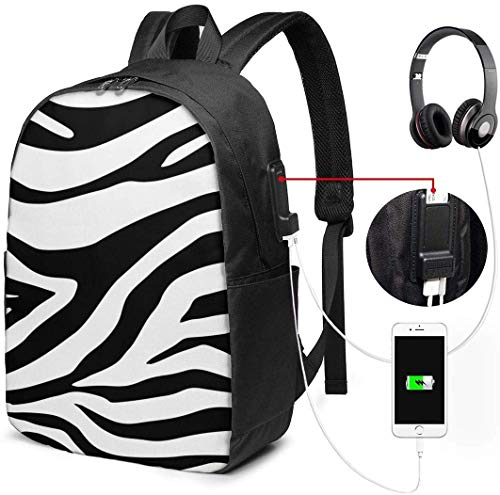 Mochila con interfaz USB Zebra Napkin Paper Cheetah Animal Print Black