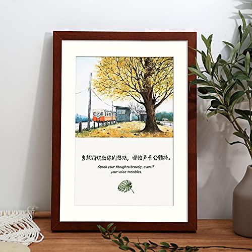 MEYYY Marcos de fotos A3 de nogal – 29,7 x 42 cm de madera maciza con plexiglás frontal, marcos de pintura/marco de certificado para montaje en pared