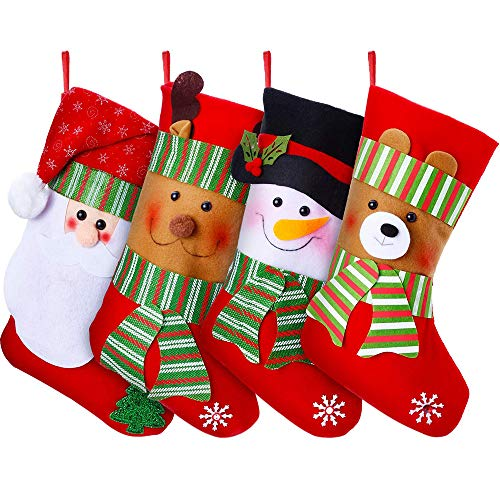 DearHouse 15' Christmas Stockings, 4 Pack Large Size Xmas Stocking Set with Christmas Santa Snowman Reindeer Bear Fireplace Decoration Gift & Candy Pouch Bag Ornaments
