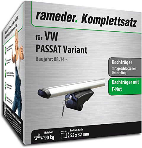 Rameder Set, Dachträger Pick-Up kompatibel für VW Passat B8 Variant (111287-12918-38)