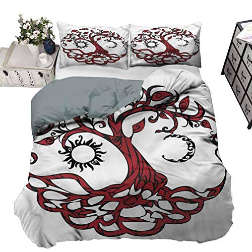 painting-home Bedding Cover Tree of Life, Sun Half Moon Fantasy Premium Quilt Cover Stain and Wrinkle Resistant, Breathable Twin - 70 x 90 Inch