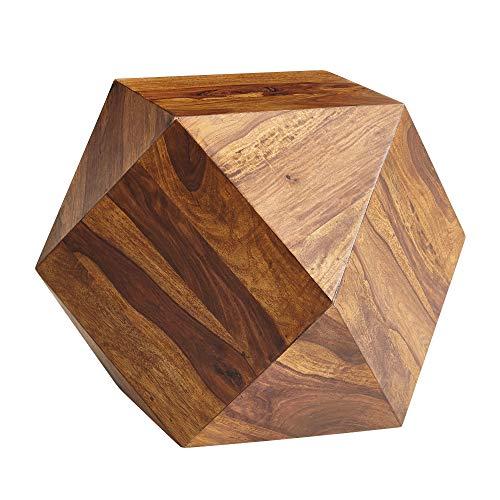FineBuy Tavolino da caffè Sheesham Legno Massello 57x42,5x57 cm Disegno Tavolo | Tavolo da Salotto Divano Tavolo a Forma di Diamante | Tavolino Laterale