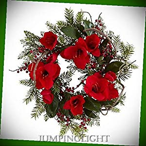 "JumpingLight 24"" Amaryllis Wreath Artificial Flowers Wedding Party Centerpieces Arrangements Bouquets Supplies"