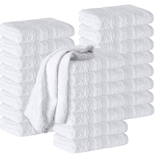 Hand Towels Cotton , 24 - Pack, White 16 x 27 inches Premium Spa Quality, Super Soft and Absorbent for Gym, Pool, Spa, Salon and Home