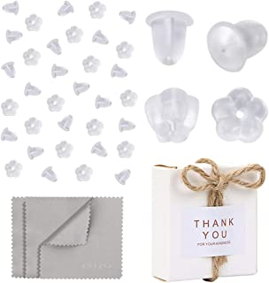 Premium Upgrade Soft Silicone Earring Backs, JJKKZVZ 200 Pcs Earring Safety Backs Clear Bullet Eearring Backs, 200 Pcs Flower Shaped Earring Backs Stopper with Jewelry Cleaning Cloth